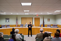 Shenna Bellows, Democratic candidate in Maine for US Senate, speaks to the Kittery Democrats town caucus in the Town Hall Council Chambers in Kittery, Maine, USA, on March 3, 2014. Bellows is trying to unseat incumbent Maine Republican Senator Susan Collins in the 2014 election. The town caucus had speeches from various other local candidates and also served to choose delegates for the 2014 Maine State Democratic Caucus.