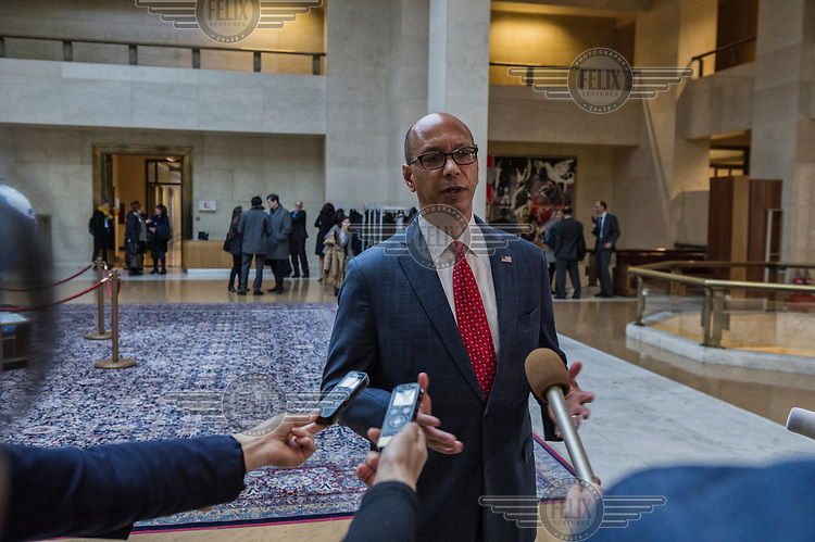 U.S. Ambassador Robert Wood, talking to the press after presenting the United States Nuclear Posture Review to other states at the Conference on Disarmament. Wood claimed that North Korea was only months away from having the capacity to hit the United States with a nuclear weapon and dismissed the North's prsent situation as a 'charm offensive' that fooled no one. He also added that the Chinese and Russians were increasing their nuclear capabilities.