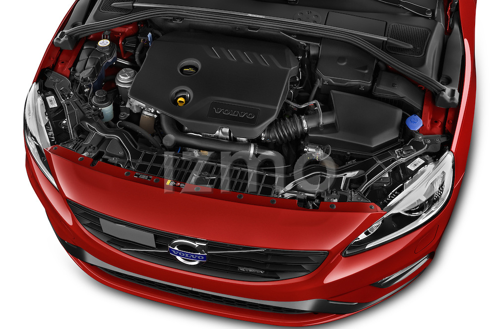 Car Stock 2014 Volvo V60 Summum R-design 5 Door Wagon 2WD Engine high angle detail view