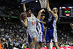 Real Madrid´s Gustavo Ayon and Anadolu Efes´s Nenad Krstic during 2014-15 Euroleague Basketball Playoffs second match between Real Madrid and Anadolu Efes at Palacio de los Deportes stadium in Madrid, Spain. April 17, 2015. (ALTERPHOTOS/Luis Fernandez)