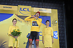Fabian Cancellara (SUI) finishes 2nd and retains the race leaders Yellow Jersey at the end of Stage 1 of the 99th edition of the Tour de France, running 198km from Liege to Seraing, Belgium. 1st July 2012.<br /> (Photo by Eoin Clarke/NEWSFILE)
