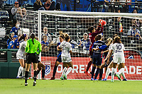 TACOMA, WA - JULY 31: Sarah Bouhaddi #12 of the OL Reign makes a save during a game between Racing Louisville FC and OL Reign at Cheney Stadium on July 31, 2021 in Tacoma, Washington.