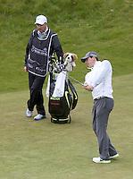 27 May 2015; Rory McIlroy chips into the 3rd green<br /> <br /> Dubai Duty Free Irish Open Golf Championship 2015, Pro-Am. Royal County Down Golf Club, Co. Down. Picture credit: John Dickson / DICKSONDIGITAL