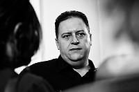 Sebastian Marroquin, Juan Pablo Escobar<br /> Roma 20/09/2018. Stampa Estera. Presentazione della conferenza spettacolo del figlio del più' famoso trafficante di droga delle storia, Pablo Escobar. Lo spettacolo racconterà' di suo padre attraverso un monologo e delle foto.<br /> Rome September 20th 2018. Presentation of the Conference-Show of Sebastián Marroquín, born Juan Pablo Escobar, son of the best known drug trafficker of history, Pablo Escobar, 'the king of cocaine'. <br /> Foto Samantha Zucchi Insidefoto