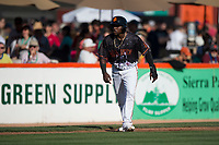 San Jose Giants third baseman Frandy De La Rosa (43) takes a lead off third base during a California League game against the Lancaster JetHawks at San Jose Municipal Stadium on May 12, 2018 in San Jose, California. Lancaster defeated San Jose 7-6. (Zachary Lucy/Four Seam Images)