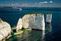 Old Harry Rocks with Brittany Fierries tour boat. Dorset, Jurassic Coast, England.