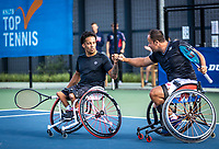 Amstelveen, Netherlands, 22 Augustus, 2020, National Tennis Center, NTC, NKR, National  Wheelchair Tennis Championships, Man's doubles final  final :  winners Carlos Anker (NED) and Tom Egberink (NED) (R) celebrate their win in corona style.<br /> Photo: Henk Koster/tennisimages.com
