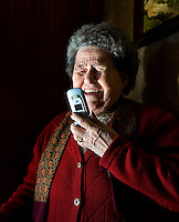 Salvadora Arranz, 87. Salvadora Arranz receives a call of her son since one spanish prison more than 800 kilometres of distance from the Basque Country on february 19, 2009. Salvadora receives weekly call timed 4 minutes and 58 seconds of each son, Txomin and Antxon Troitiño, imprisoned more than 800 km from home. .Argazkia/photo: Ander Gillenea
