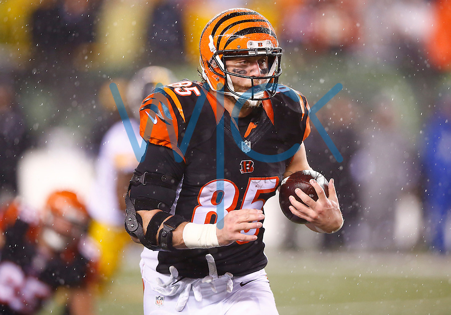 Tyler Eifert #85 of the Cincinnati Bengals in action against the Pittsburgh Steelers during the Wild Card playoff game at Paul Brown Stadium on January 9, 2016 in Cincinnati, Ohio. (Photo by Jared Wickerham/DKPittsburghSports)