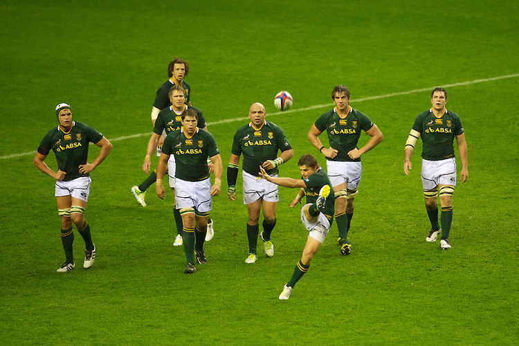 Pat Lambie of South Africa sends a free kick into the stands during the QBE Autumn International match between England and South Africa at Twickenham on Saturday 24 November 2012 (Photo by Rob Munro)