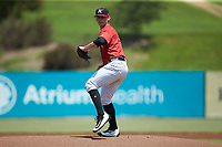 Kannapolis Intimidators starting pitcher Zach Lewis (28) in action against the Greensboro Grasshoppers at Kannapolis Intimidators Stadium on August 5, 2018 in Kannapolis, North Carolina. The Grasshoppers defeated the Intimidators 2-1 in game one of a double-header.  (Brian Westerholt/Four Seam Images)