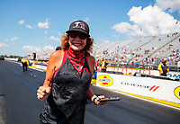 Aug 9, 2020; Clermont, Indiana, USA; NHRA top fuel team owner Kay Torrence during the Indy Nationals at Lucas Oil Raceway. Mandatory Credit: Mark J. Rebilas-USA TODAY Sports