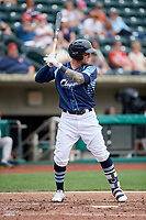 Columbus Clippers center fielder Brandon Barnes (9) at bat during a game against the Gwinnett Stripers on May 17, 2018 at Huntington Park in Columbus, Ohio.  Gwinnett defeated Columbus 6-0.  (Mike Janes/Four Seam Images)