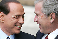 Il Presidente del Consiglio Silvio Berlusconi, a sinistra, accoglie il Presidente degli Stati Uniti George W. Bush a Villa Madama, Roma, 12 giugno 2008..Italian Premier Silvio Berlusconi, left, welcomes U.S. President George W. Bush at Rome's Villa Madama, 12 june 2008..UPDATE IMAGES PRESS/Riccardo De Luca