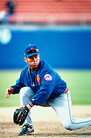 Edgardo Alfonzo of the New York Mets during a game at Dodger Stadium in Los Angeles, California during the 1997 season.(Larry Goren/Four Seam Images)