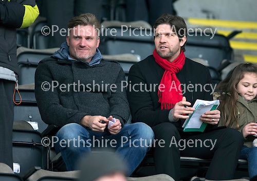 St Johnstone v Motherwell…20.02.16   SPFL   McDiarmid Park, Perth<br />Partick Thistle assistant Scott Paterson watches the game<br />Picture by Graeme Hart.<br />Copyright Perthshire Picture Agency<br />Tel: 01738 623350  Mobile: 07990 594431