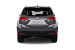 Straight rear view of 2018 Toyota Highlander LE-Plus 5 Door SUV Rear View  stock images