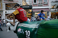 Children playing on the exhibits for the Istanbul Cow Parade, Istiklal Street, Beyoglu, Istanbul in 2007