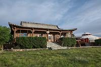 Mongolia, Gobi Gurvan Saikhan National Park, Gobi Desert, the bar at Three Camel Lodge.