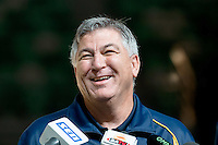 Melbourne, 14 August 2015 - Coach of the Australian Opals women's basketball team, Brendan Joyce speaks to the media at a press conference on the eve of the game one of the 2015 FIBA Oceania Championships at Rod Laver Arena in Melbourne, Australia. (Photo Sydney Low / sydlow.com)