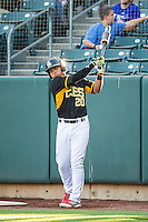 Carlos Perez (20) of the Salt Lake Bees during the game against the Sacramento River Cats in Pacific Coast League action at Smith's Ballpark on April 20, 2015 in Salt Lake City, Utah.  (Stephen Smith/Four Seam Images)