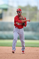 GCL Cardinals second baseman Edwin Figuera (3) throws to first during the second game of a doubleheader against the GCL Marlins on August 13, 2016 at Roger Dean Complex in Jupiter, Florida.  GCL Cardinals defeated GCL Marlins 2-0.  (Mike Janes/Four Seam Images)