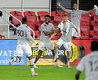 WASHINGTON, DC - NOVEMBER 8: Romell Quioto #30 of Montreal Impact celebrates his score with teammates during a game between Montreal Impact and D.C. United at Audi Field on November 8, 2020 in Washington, DC.