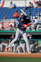 State College Spikes Dariel Gomez (34) at bat during a NY-Penn League game against the Batavia Muckdogs on July 1, 2019 at Dwyer Stadium in Batavia, New York.  Batavia defeated State College 5-4.  (Mike Janes/Four Seam Images)