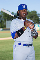 Vladimir Guerrero Jr. (27) of the Bluefield Blue Jays poses for a photo prior to the game against the Burlington Royals at Burlington Athletic Stadium on June 26, 2016 in Burlington, North Carolina.  The Blue Jays defeated the Royals 4-3.  (Brian Westerholt/Four Seam Images)