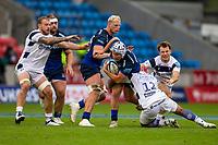 29th August 2020; AJ Bell Stadium, Salford, Lancashire, England; English Premiership Rugby, Sale Sharks versus Bristol Bears;Curtis Langdon of Sale Sharks is tackled by Siale Piatau of Bristol Bears