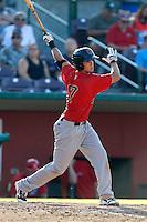 Sean Jamison #17 of the Visalia Rawhide bats against the Inland Empire 66ers at San Manuel Stadium on August 11, 2013 in San Bernardino, California. Visalia defeated Inland Empire, 11-1. (Larry Goren/Four Seam Images)