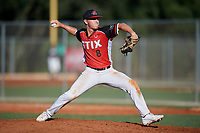 Cooper Schneider (8) during the WWBA World Championship at Lee County Player Development Complex on October 8, 2020 in Fort Myers, Florida.  Cooper Schneider, a resident of Cleburne, Texas who attends Cleburne High School.  (Mike Janes/Four Seam Images)