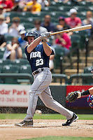 New Orleans Zephyrs designated hitter Matt Diaz #23 follows through on his swing against the Round Rock Express in the Pacific Coast League baseball game on April 21, 2013 at the Dell Diamond in Round Rock, Texas. Round Rock defeated New Orleans 7-1. (Andrew Woolley/Four Seam Images).