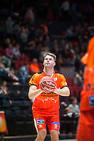 VALENCIA, SPAIN - OCTOBER 31: Jon Stefanson during ENDESA LEAGUE match between Valencia Basket Club and Rio Natura Monbus Obradoiro at Fonteta Stadium on   October 31, 2015 in Valencia, Spain