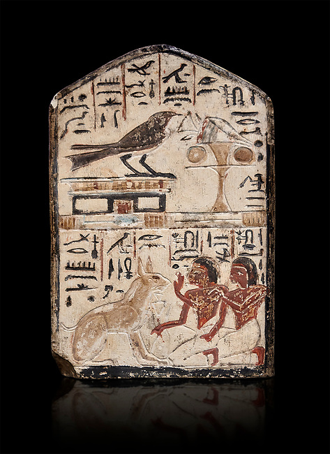 """Ancient Egyptian stele didicated to the swallow and cat by Nebra, limestone, New Kingdom, 19th Dynasty, (1292-1190 BC), Deir el-Medina, Egyptian Museum, Turin. black background. Drovetti Cat No 1591.<br /> <br /> In the top register of this votive stele a swallow  (Hirundinidae) is shown perched on top of a shrine. An offering table is placed in front of it on the right side. The bird is called """"the good swallow"""". In the lower register Nakhamun and Khay, Nebre's two sons, kneel in adoration in front of a large cat. They both hold a bouquet in their right hand, the left hand is raised in adoration before the good cat"""" (Houlihan,1996,87). The swallow and the cat both represent two minor deities, Menet and Tamit, who are  closely connected with the region of the Theban necropolis. It is unusual that this stele has been dedicated by Nebre, the royal craftsman, without him being depicted."""