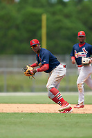 GCL Cardinals third baseman Francisco Hernandez (4) throws to first base during a Gulf Coast League game against the GCL Marlins on August 12, 2019 at the Roger Dean Chevrolet Stadium Complex in Jupiter, Florida.  GCL Marlins defeated the GCL Cardinals 9-2.  (Mike Janes/Four Seam Images)