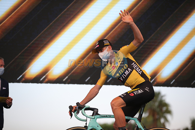 Wout Van Aert (BEL) Team Jumbo-Visma on stage at the team presentation before the Tour de France 2020, Nice, France. 27th August 2020.<br /> Picture: ASO/Thomas Maheux | Cyclefile<br /> All photos usage must carry mandatory copyright credit (© Cyclefile | ASO/Thomas Maheux)