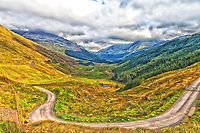 A very scenic view of Rest and Be Thankful Pass in the highlands of Scotland