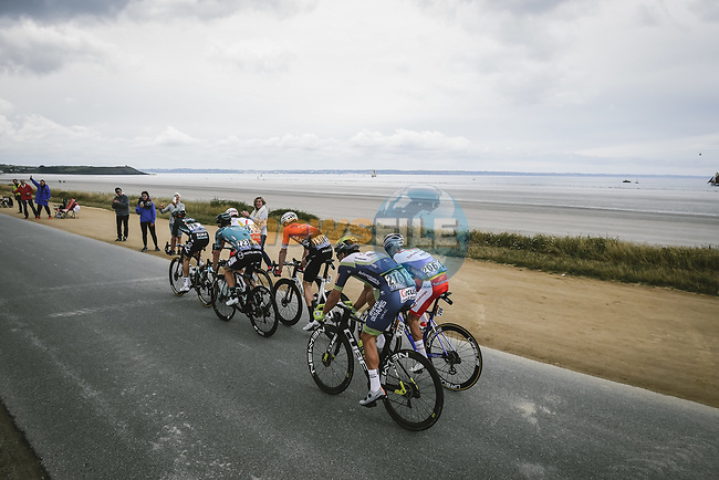 Franck Bonnamour (FRA) B&B Hotels/KTM, Cristian Rodriguez Martin (ESP) Team TotalEnergies, Danny Van Poppel (NED) Intermarché-Wanty-Gobert Matériaux, Ide Schelling (NED) Bora-Hansgrohe, Anthony Perez (FRA) Cofidis and Connor Swift (GBR) Arkea-Samsic in the breakaway during Stage 1 of the 2021 Tour de France, running 197.8km from Brest to Landerneau, France. 26th June 2021.  <br /> Picture: A.S.O./Pauline Ballet | Cyclefile<br /> <br /> All photos usage must carry mandatory copyright credit (© Cyclefile | A.S.O./Pauline Ballet)