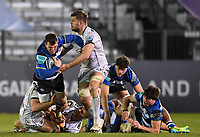 19th February 2021; Recreation Ground, Bath, Somerset, England; English Premiership Rugby, Bath versus Gloucester; Ed Slater of Gloucester tackles Ben Spencer of Bath