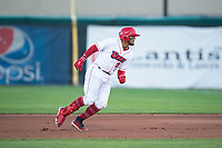 Orem Owlz third baseman Kevin Maitan (9) turns around to touch first base after hitting a home run during a Pioneer League game against the Ogden Raptors at Home of the OWLZ on August 24, 2018 in Orem, Utah. The Ogden Raptors defeated the Orem Owlz by a score of 13-5. (Zachary Lucy/Four Seam Images)