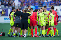 Orlando, Florida - Sunday, May 8, 2016: The Seattle Rein FC team huddle after their 0-2 loss during a National Women's Soccer League match between Orlando Pride and Seattle Reign FC at Camping World Stadium.