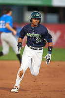 Vermont Lake Monsters shortstop Richie Martin (12) running the bases during a game against the Hudson Valley Renegades on September 3, 2015 at Centennial Field in Burlington, Vermont.  Vermont defeated Hudson Valley 4-1.  (Mike Janes/Four Seam Images)