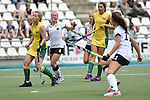 GER - Mannheim, Germany, May 24: During the U16 Girls match between Australia (green) and Germany (white) during the international witsun tournament on May 24, 2015 at Mannheimer HC in Mannheim, Germany. Final score 0-6 (0-3). (Photo by Dirk Markgraf / www.265-images.com) *** Local caption *** Emma Davidsmeyer #4 of Germany, Lucy Wootton #12 of Australia, Philippa Morgan #11 of Australia