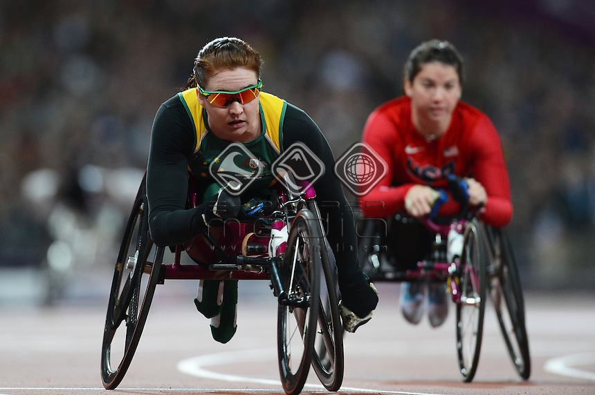 Angie Ballard (AUS) wins Silver in Womens 200m T-53 Final<br /> Athletics (Thursday September 6th) Paralympic Stadium<br /> Paralympics - Summer / London 2012<br /> London England 29 Aug - 9 Sept <br /> © Sport the library/Courtney Crow
