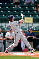 Fort Myers Miracle outfielder Andy Leer #12 hits a home run during a game against the Bradenton Marauders at McKechnie Field on April 7, 2013 in Bradenton, Florida.  Fort Myers defeated Bradenton 9-8 in ten innings.  (Mike Janes/Four Seam Images)