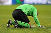 Tim Howard of USA is overcome with emotion at full-time. USA defeated Spain 2-0 during the semi-finals of the FIFA Confederations Cup at Free State Stadium in Manguang/Bloemfontein, South Africa on June 24, 2009..