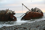 SHIPWRECKED BOAT BROKEN into TWO SECTIONS ALONGSIDE the BEACH at the MEXICAN COAST (5)
