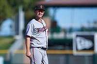 Surprise Saguaros third baseman Chris Paul (21), of the Minnesota Twins organization, during an Arizona Fall League game against the Scottsdale Scorpions on October 27, 2017 at Scottsdale Stadium in Scottsdale, Arizona. The Scorpions defeated the Saguaros 6-5. (Zachary Lucy/Four Seam Images)