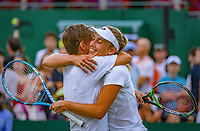 London, England, 5 th. July, 2018, Tennis,  Wimbledon, Women's doubles: Elise Mertens (BEL( and Demi Schuurs (NED) (L) embrace after winning their match<br /> Photo: Henk Koster/tennisimages.com